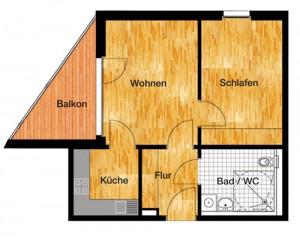 Skizze der Wohnung von Betreutes Wohnen Potsdam