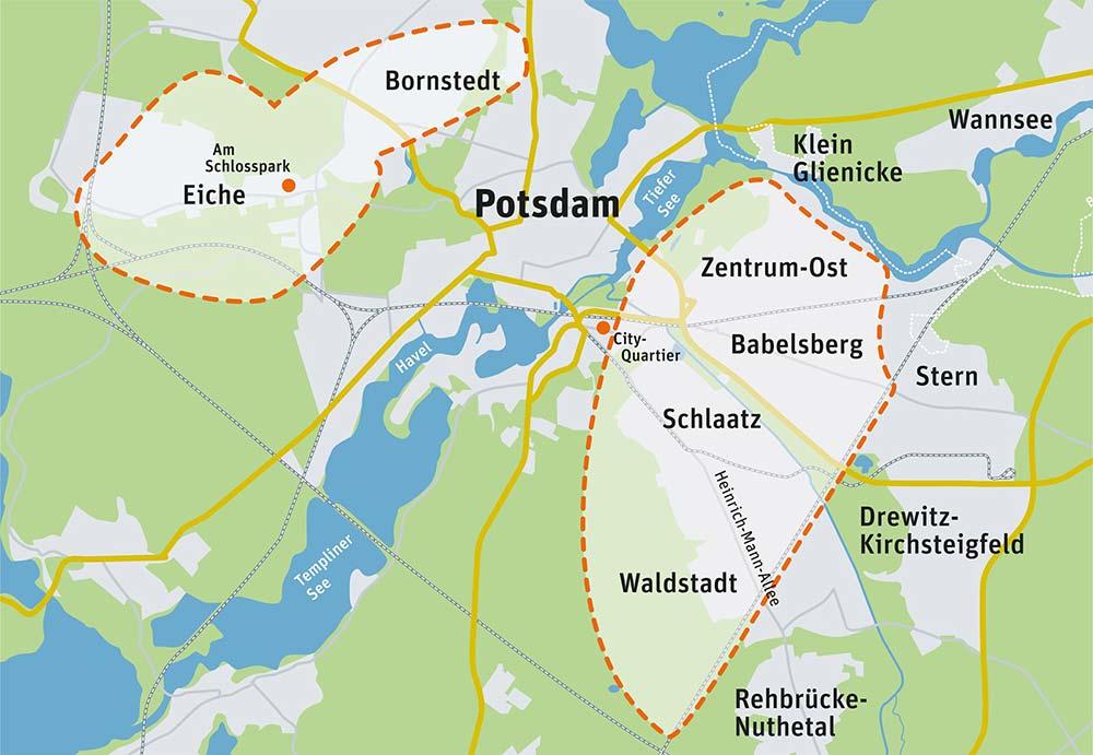 Das Einsatzgebiet des ambulanten Pflegedienstes in Potsdam