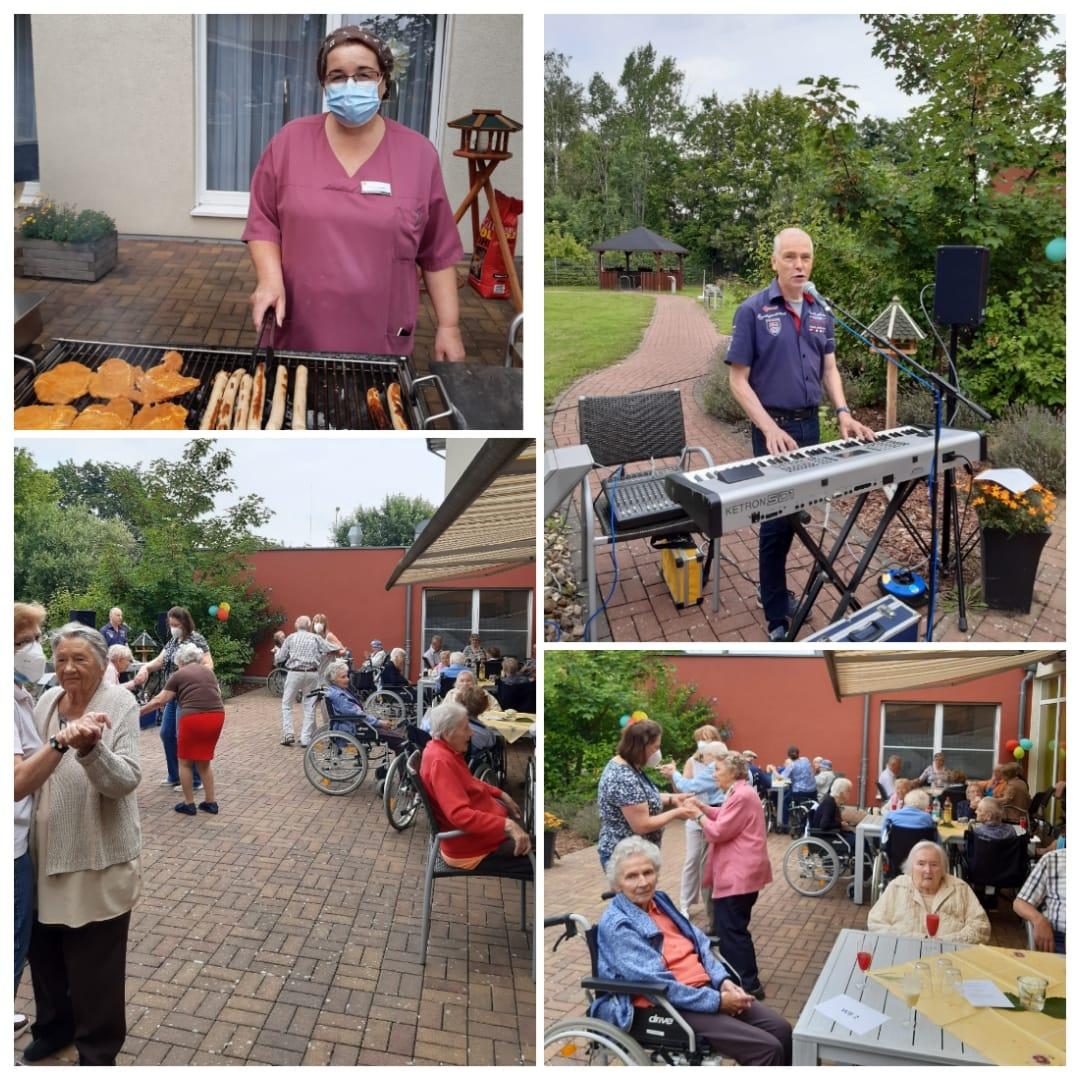 Grillfest im Pflegewohnstift Steinhäuser Gärten mit Altenpflerin und Bewohnern die Tanzen