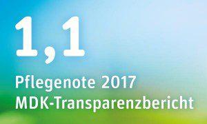 Pflegenote 2018 des Pflegeheims Berlin im MDK-Transparenzbericht: 1,1