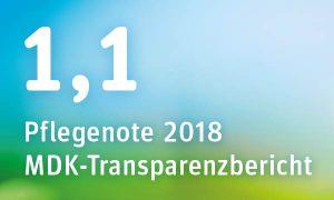 Pflegenote 2018 der Seniorenresidenz Potsdam im MDK-Transparenzbericht: 1,1