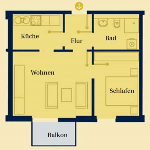 Skizze einer Wohnung im Service-Wohnen Am Schlosspark