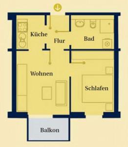 Skizze 2 einer Wohnung vom Service-Wohnen Potsdam Waldstadt